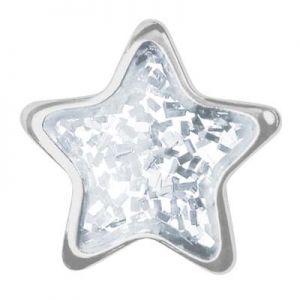 przekłuwanie uszu biała gwiazdka srebro