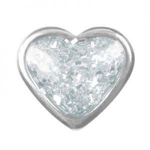 przekłuwanie uszu białe serduszko srebro