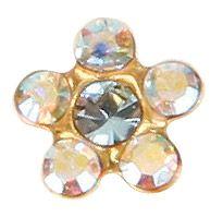 stokrotka z niebieskim i kryształami górskimi złota